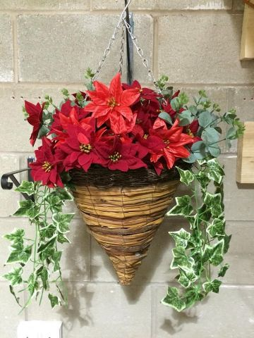 Cone Wicker Artificial Flower Hanging Basket - Poinsettia Christmas Basket With evy